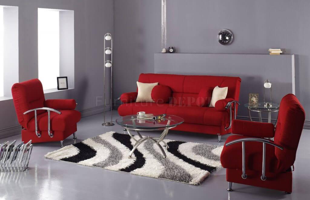 اللون الرمادي مع اللون الأحمر