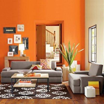 اللون البرتقالي في الغرف
