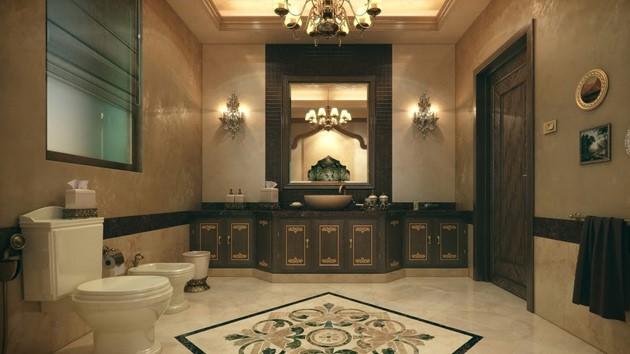 ديكورات أسقف وأرضيات الحمام
